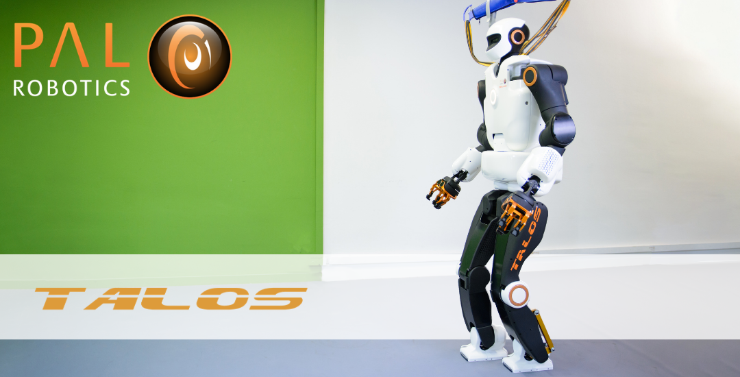Humanoid robot navigating autonomously over rough terrain; spotlight on TALOS